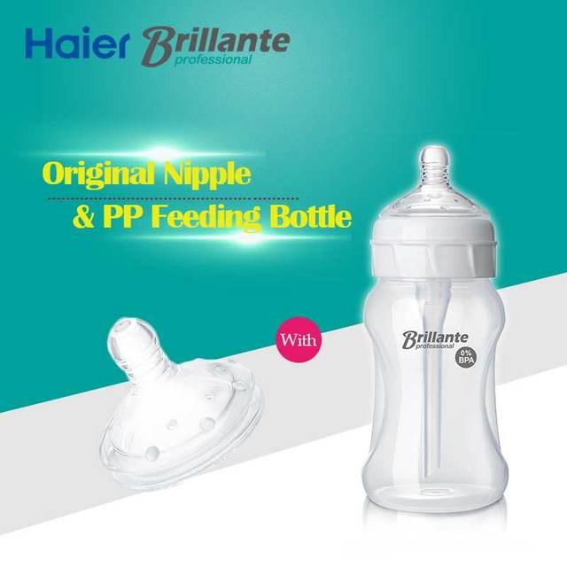 Haier brillante bpa pp livre mamadeira mamilo fluxo rápido original definido para 6 m + bebê