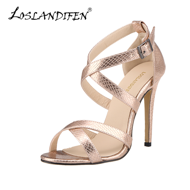 Sandals Women Cross-tied Summer Casual Shoes Fashion Open Toe Buckle High Heels Ladies Crocodile Party Sandal Leather 102-1A-XEY sgesvier fashion women sandals open toe all match sandals women summer casual buckle strap wedges heels shoes size 34 43 lp009