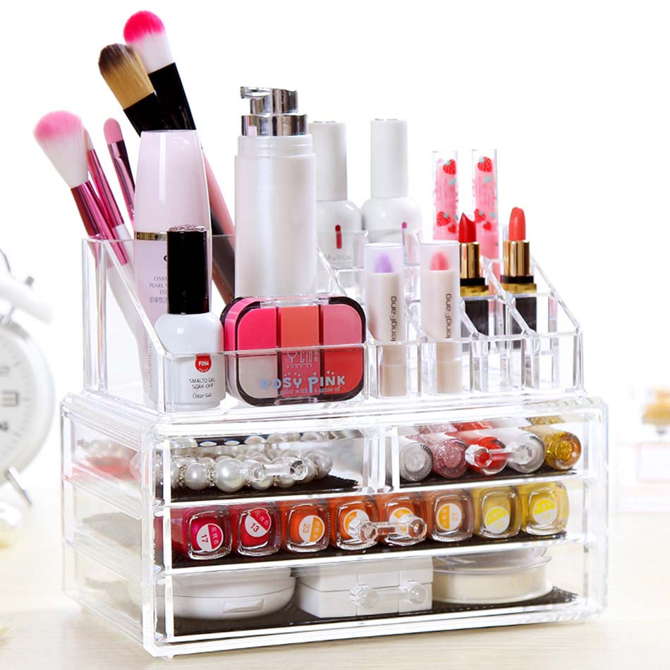 CHOICEFUN Home Desktop Clear Large Plastic Storage Box Lipstick