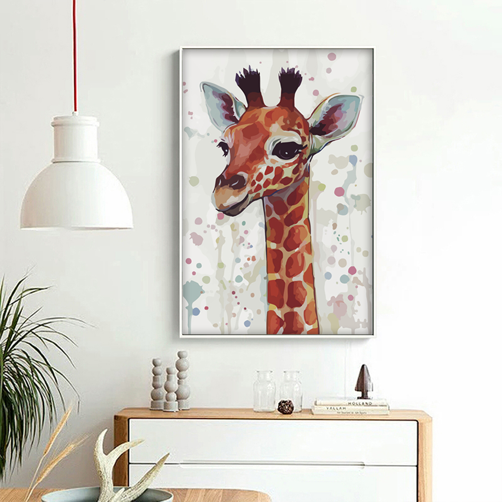 Bianche Wall Simple Animal Head Watercolor Deer Giraffe Elk A4 Canvas Painting Art Print Poster Picture Wall Modern Home Decor
