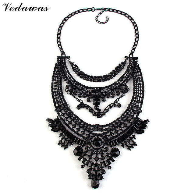 Vedawas Big Style Vintage Jewelry Metal Statement Necklace Collar Choker Crystal Rhinestone Beads Maxi Necklace Wholesale XG1605