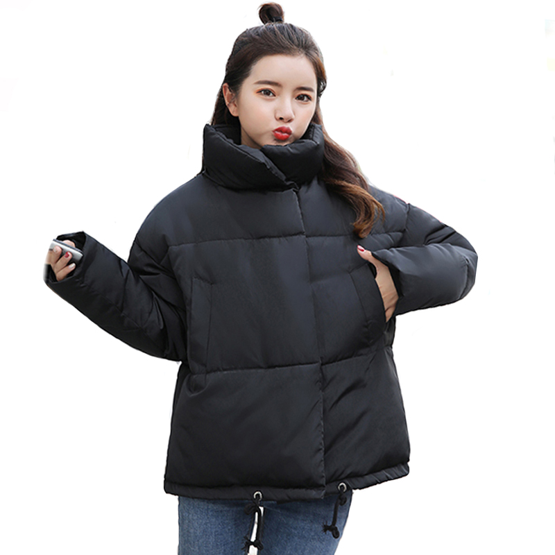 2019 Stand Collar Women Winter Jacket Cotton Padded Warm Short Female Coat Outwear High Quality Womens   Parka   Casaco Feminino