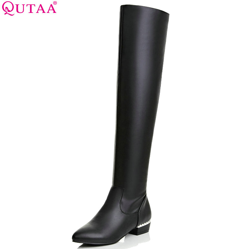 QUTAA 2018 Elegant White Square Low Heel Over The Knee Boots Women Shoes Round Toe Warm Boots Casual Shoes Sown Boots size 34-43 2016 fashion gray flock winter long boots elegant women shoes square low heel over the knee boots women boot size 34 43 concise page 4
