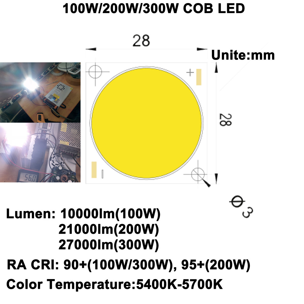 MARSWALLED CRI90 גבוהה +/95 + Ultra בהירות 100 W/200 W/300 W COB LED אור יום לבן 5600 K עבור DIY פנס LED שלב אור