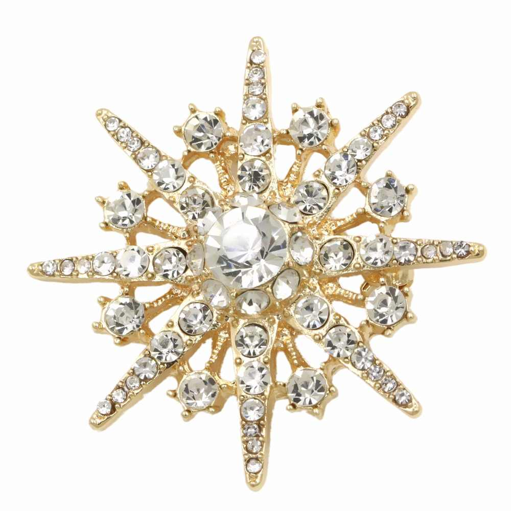 Factory Direct Sale Crystal Rhinestones Starburst Brooch Pins for Dress in Gold or Silver Color Plated