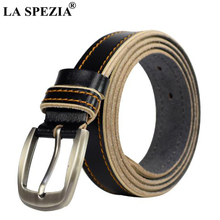 LA SPEZIA Women Black Belt Vintage Real Leather Belts For Jeans Female Pin Buckle Cowskin Genuine Brand Double Loop