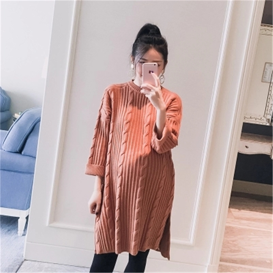 Maternity Dresses Female Clothes For Pregnant Women Sweater Dress Knitted Winter Hamile Giyim Gravida Pregnancy Clothes 70R0168 maternity clothes fall pregnant women sweater knitting dress autumn winter knitted female loose warm pullover cute lady dresses