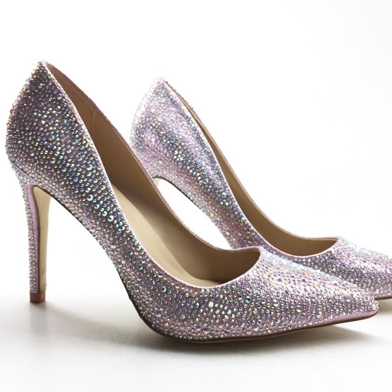 New Fashion Woman High Heels Lady Party Shoes Wedding Pumps Sexy Pointed Toe Bride  Rhinestone,Bridal