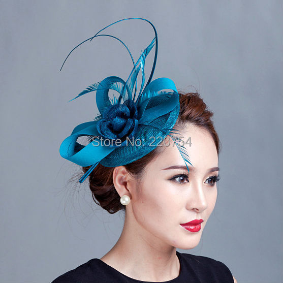 Ladies cocktail fascinator flower feather sinamay fascinator women hair  accessories elegant fascinators for wedding races7COLORS-in Women s Hair  Accessories ... 28bbc6d6a56