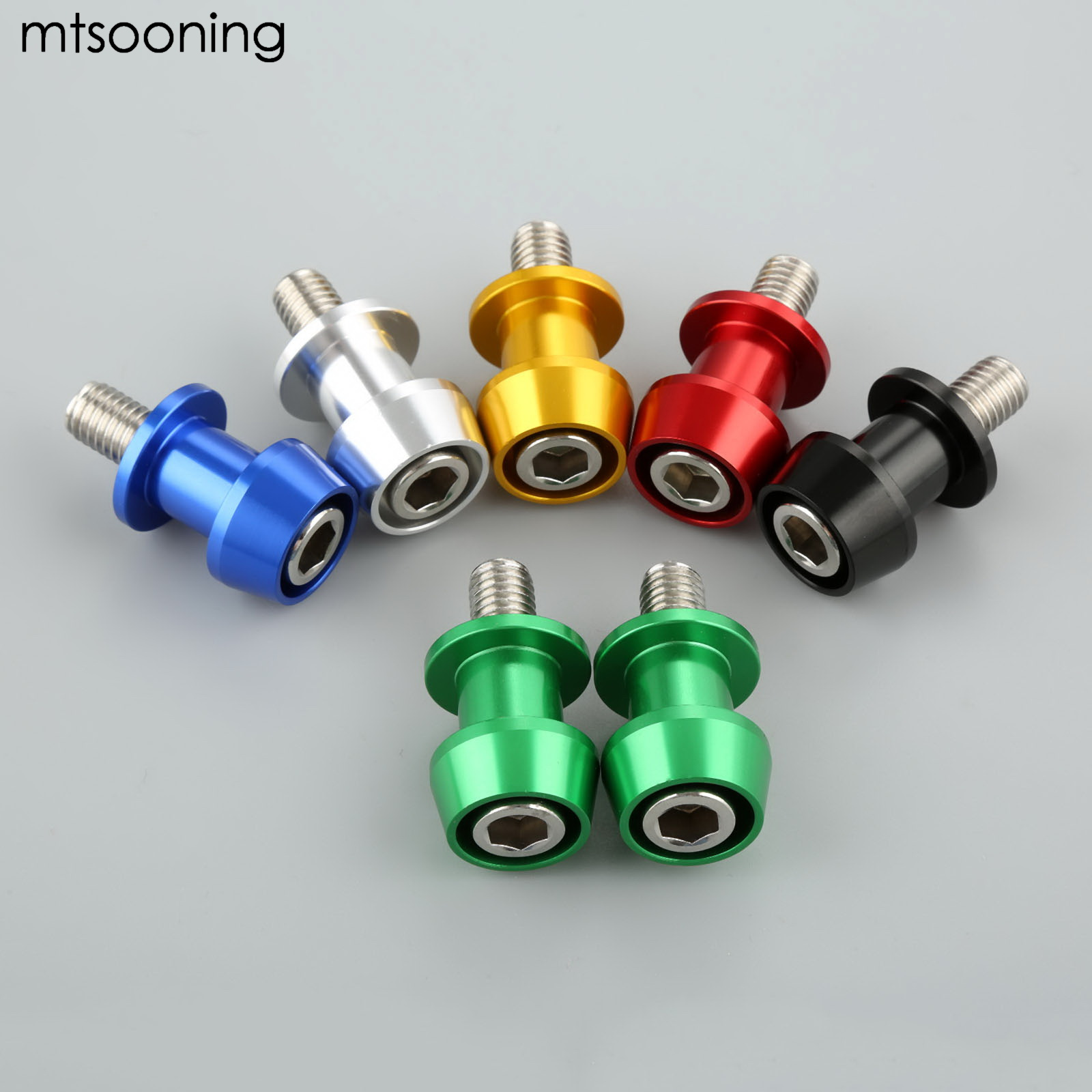 mtsooning Motorcycle CNC Swingarm Swing Arm Spools Sliders 1 Pair 10mm for KTM Honda Suzuki Ducati BMW KAWASAKI ZX6R 09-14 Z8W 2pcs universal motorcycle stand screws cnc swingarm swing sliders spools m6 m8 m10 for yamaha r3 honda crf 450 suzuki gn250