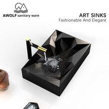אמנות כיורי רחצה 560*355*120mm מט שחור קרמיקה שירותי כלי כיור בעבודת יד כביסה אגן קערת מודרני עיצוב AM903
