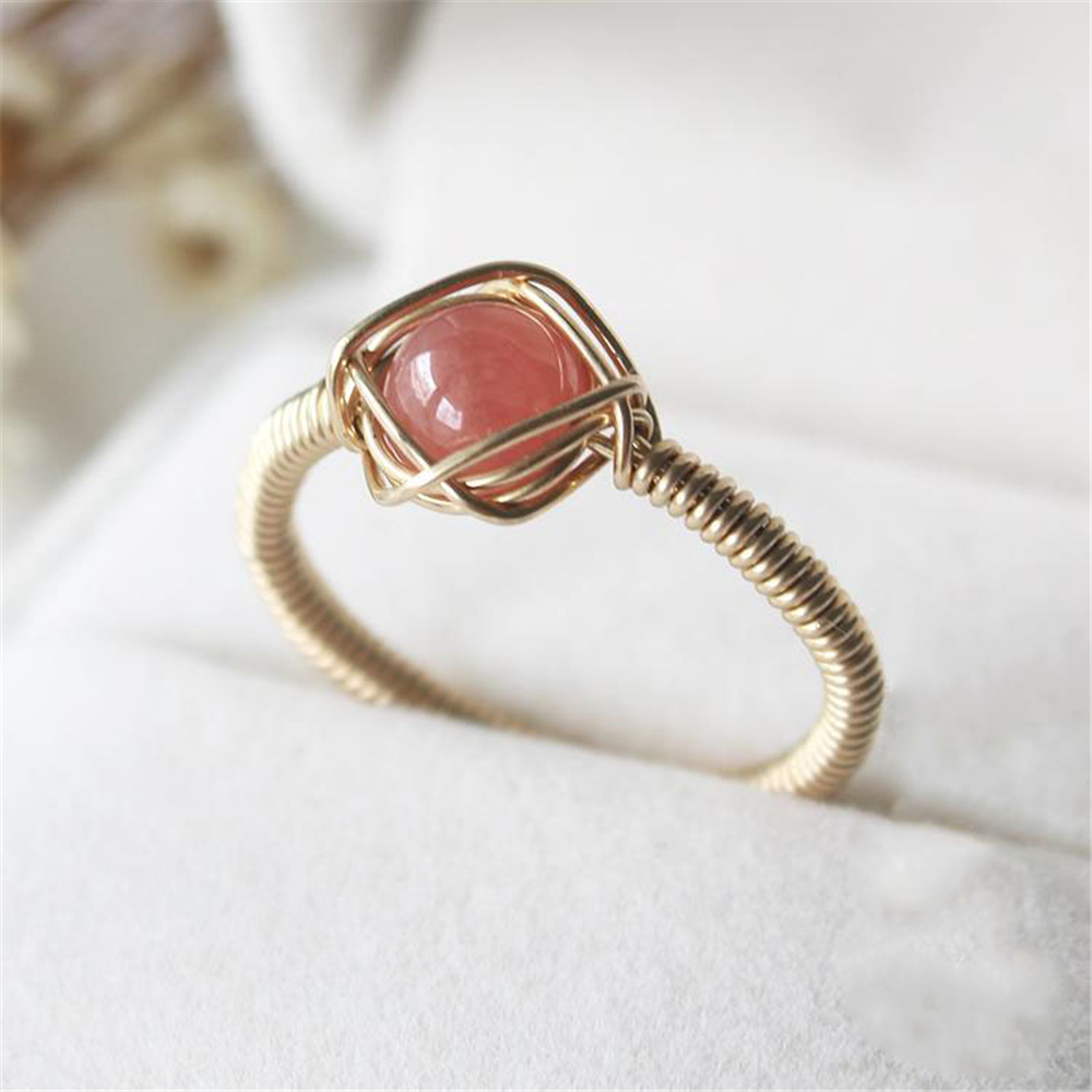 Handmade Rose Pink Natural Beads Rings Custom 14 Gold Filled Personalized Joyas Gift Anillos Mujer Bague Femme Rings for Women