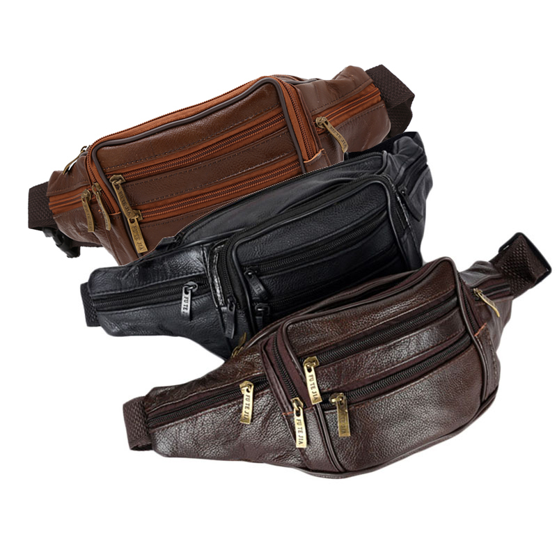 THINKTHENDO Men's Vintage Leather Messenger Bag Waist Pack Pouch Motorcycle New