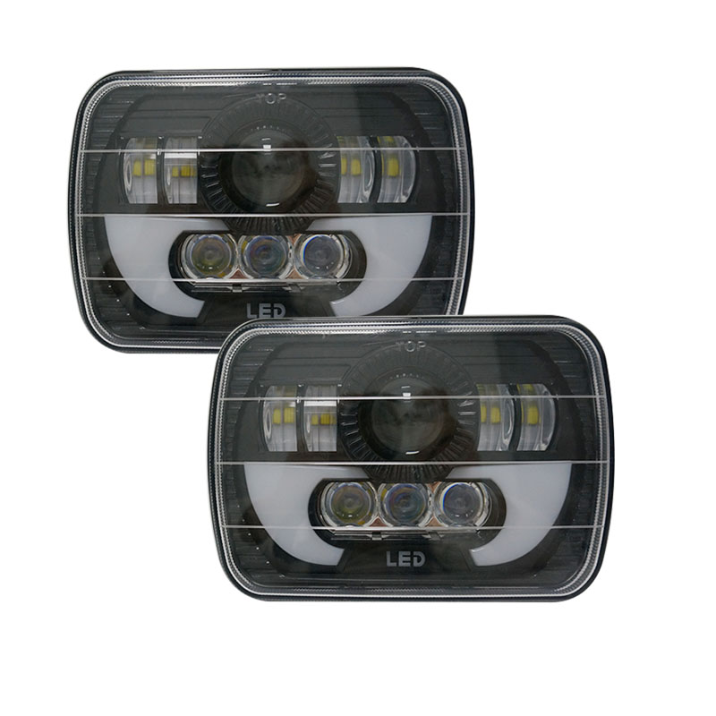 5X7 inch LED projector Headlight Offroad Rectangular LED headlamp with DRL for Jeep Wrangler YJ Jeep Comanche MJ 1 pair 7 inch rectangular led headlight