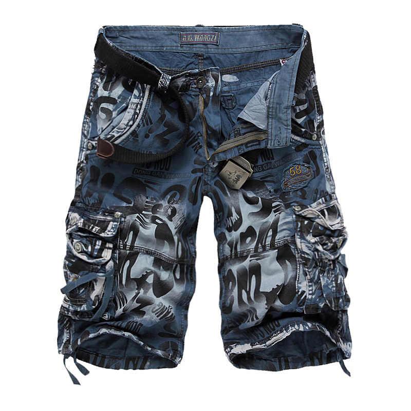 Pantalones cortos de camuflaje para hombre 2019 pantalones cortos de carga del ejército del verano Pantalones cortos de entrenamiento holgados casuales talla grande 29- 40 No cinturón