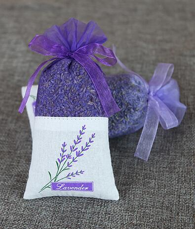 100pcs Lavender purple flower bag Cotton encryption yarn double-sided printing sachet bag