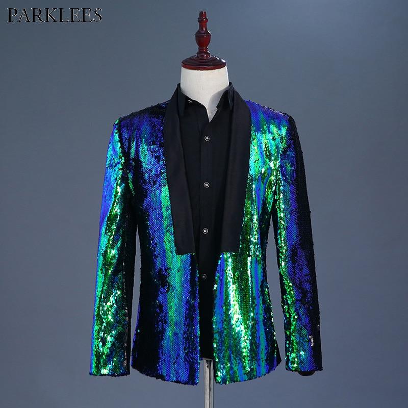 Blue Green Sequin Glitter Blazer Jacket Men 2018 Fashion Nightclub Prom Shawl Collar Suit Blazer Men Wedding Party Stage Costume