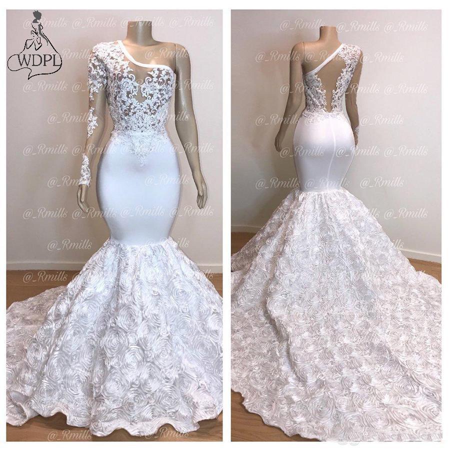 Gorgeous One Shoulder White Mermaid   Prom     Dresses   2019 Long Flower Train Lace Applique Evening   Dress   Pageant Party Gowns Custom