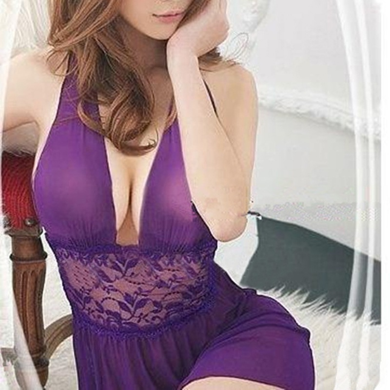 Sexy <font><b>Hot</b></font> Erotic Mesh Pajama Deep V Low Cut Beauty Back Women Lace Stain Porn Babydoll Mini <font><b>Dress</b></font> Deep V Sleepwear <font><b>Sex</b></font> Costumes image