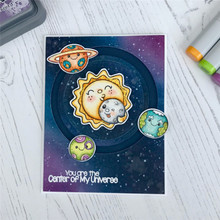 GJCrafts Moon Dies Center of The Universe Metal Cutting Dies and Stamps Stencils for DIY Scrapbook Card Decorative Craft 2019