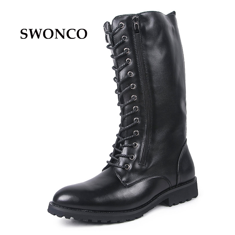 SWONCO Men's Boots PU Leather Fashion Lace up High Boot Male Shoes Leather Winter Boots Men Pointed Toe Shoes Black Color Boot new 28 color casual boot genuine leather flats shoes shoelace shoes boot lace shoes strap shoeslaces 500pairs lot via dhl ems
