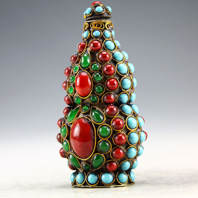 Buy Christmas Home Decor Craft Tibet Vintage Handwork Silver Inlay Turquoise
