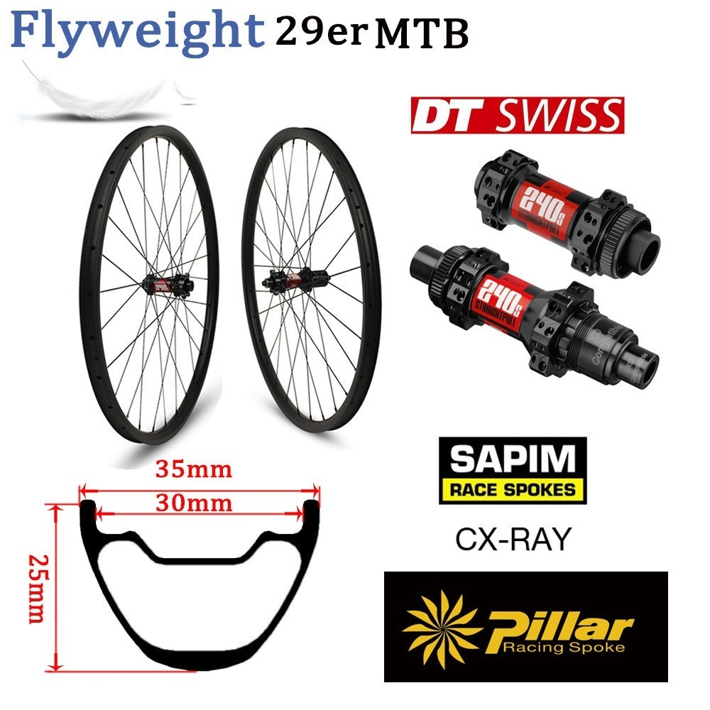 355g Only 29er Carbon Rim Mountain Bike Wheel Tubeless Ready XC Wheelset Hookless With DT Swiss