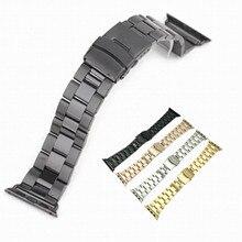 купить For Apple Watch Iwatch Stainless Steel Metal Watch Strap for Apple Watch 38mm 42mm 40mm 44mm Sport Edition WatchBand +Tools дешево