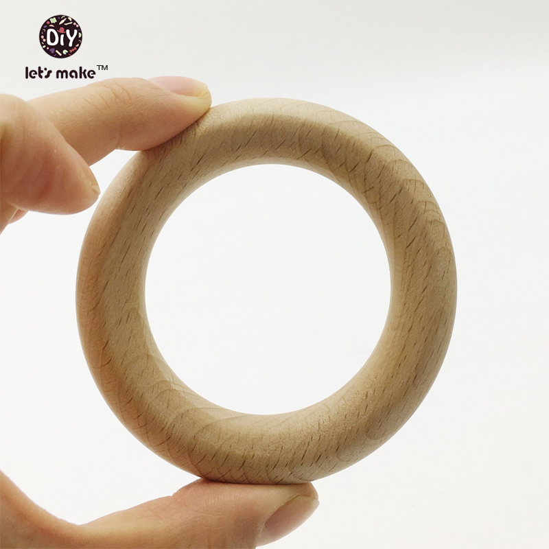 Let's Make Wooden Teether Bracelet Beech Ring 80mm Baby Toy Necklace Bracelet Eco-friendly Unfinished Wood Teething Ring