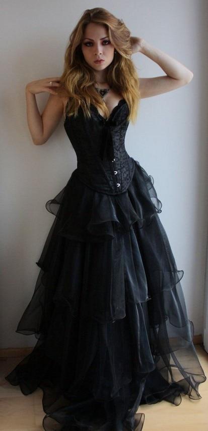 Long Black Gothic Corset Prom Dresses