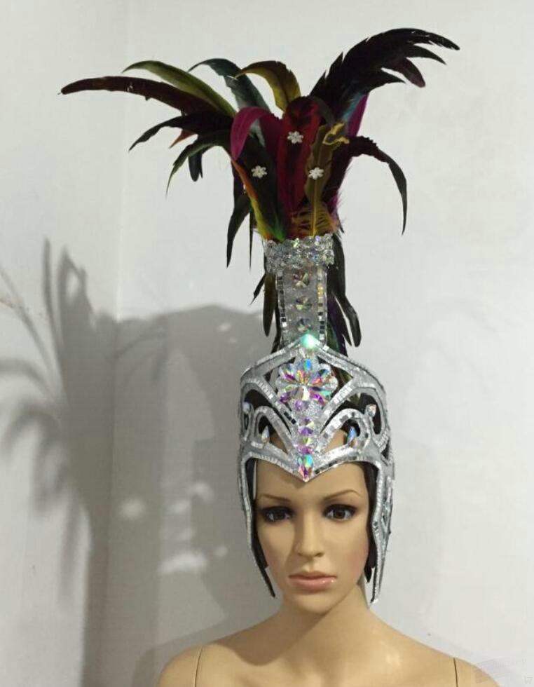 Red Gold Feather Plume Helmet Headpiece Carnival Show Girl Dancer Fancy Dress