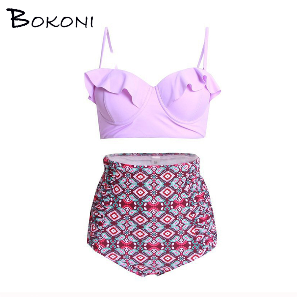 2017 Sexy Print Bikini Set Women Plus Size High Waist Swimsuit Push Up Bikini Biquini Bathing Suit Beachwear Brazilian Swimwear hot sale women ladies sexy retro padded push up tassel high waist plus size bikini swimwear swimsuit bathing