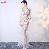Brillante Transparente de La Sirena Vestidos de Noche Largo 2017 Sexy Vestido de Fiesta Formal Con Cuello En V Tul Partida Crystal Sin Respaldo Prom Vestidos