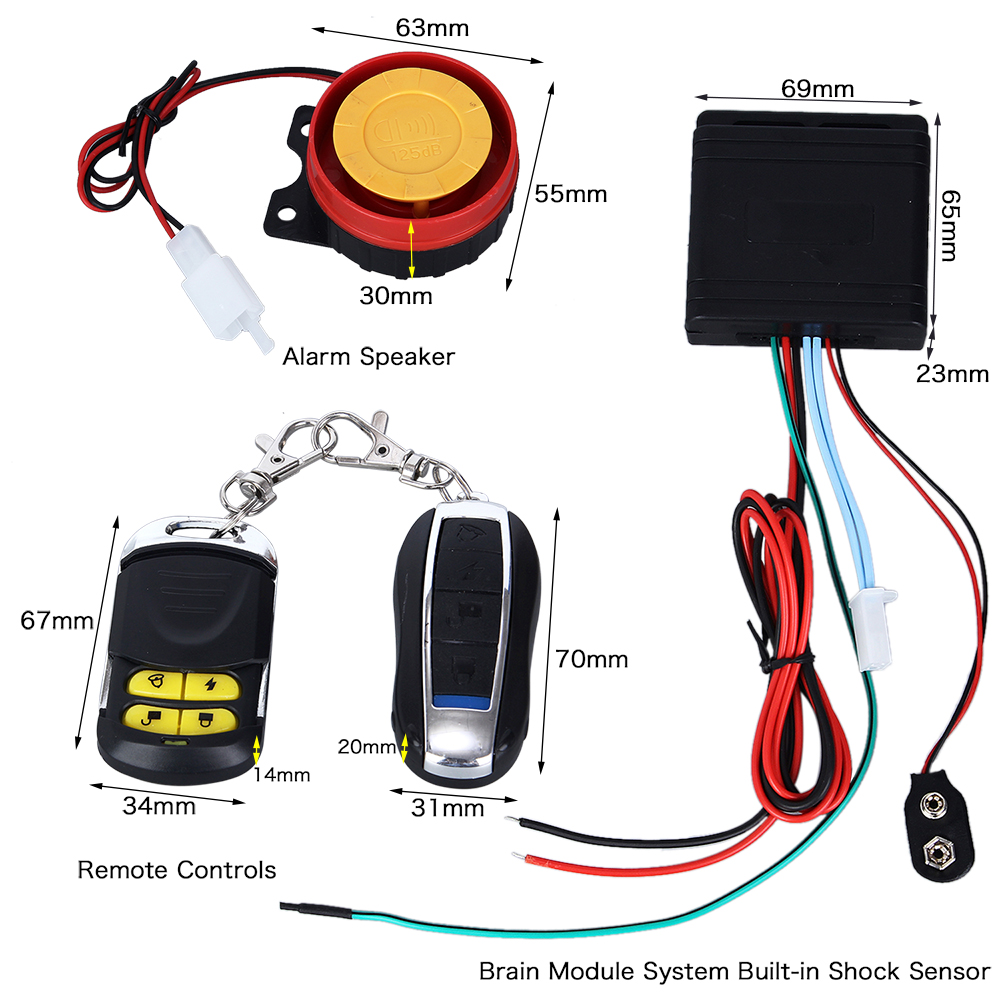 125db Alarm Speaker   Remote Key Motorcycle Bike Alarm