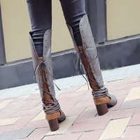 New Women Boots Autumn Winter Women Knee High Boots Casual Vintage Leather Lace Up Riding Boots low Heel Boots Plus Size 34 47