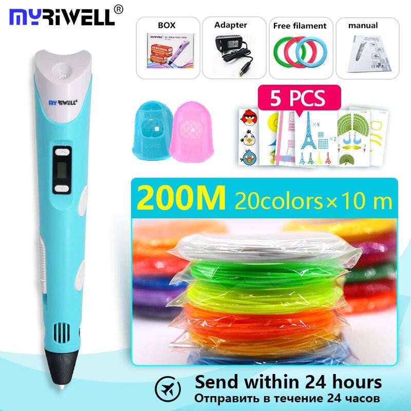 Myriwell 3d penna RP-100B con pla/abs filamento 200 m 3d penna stampante 3 d della penna di trasporto Fingersleeve Disegno strumento la migliore regalo Del Bambino