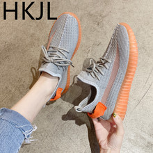 HKJL Sports shoes female 2019 Korean casual students with running summer flying woven mesh flat net Z002