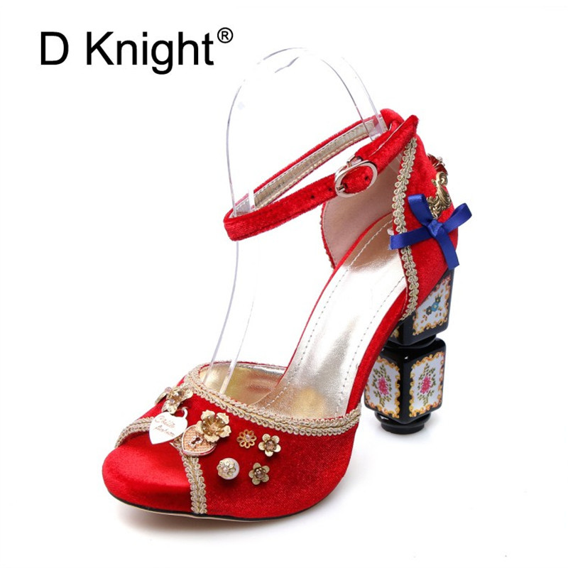 Fashion Summer Wedding Party Sandals Women Ankle Strap Thick Woman Heeled Shoes Fish Mouth Pumps Luxury High Heels Shoes Woman women sandals 2017 summer gauze high heeled shoes lace fish mouth women sandals fashion summer ankle boots s069