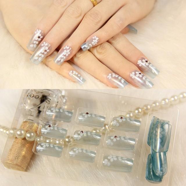 Online Shop New 24pcs White Flower Fake Nails maquiagem unhas ...