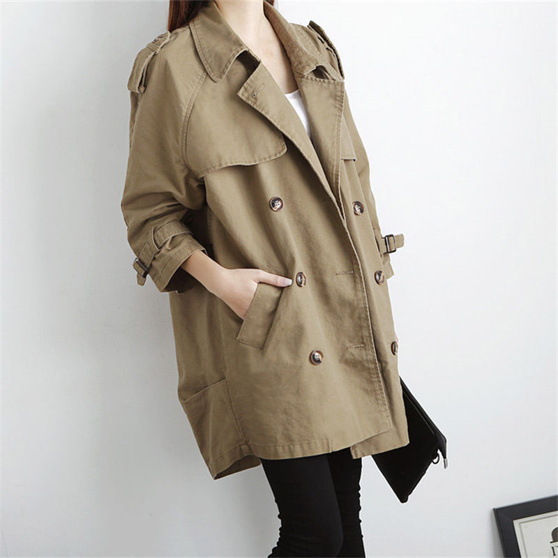 Plus Size   Trench   Coat 2019 Spring New Women's Korean Loose Casual Long Section Double-breasted Windbreaker Coat Outerwear f846