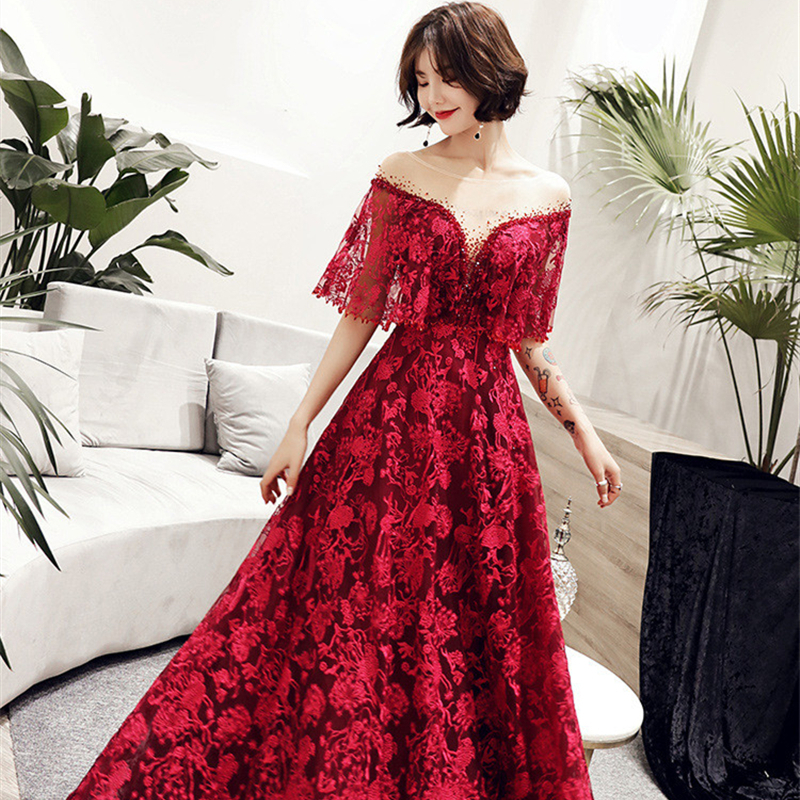 Plus Size   Evening     Dresses   Sexy V-neck Crystal Short Sleeve Prom   Dress   Royal Embroidery Lace Up Illusion A-line Party Gowns E360