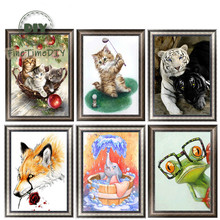 FineTime 5D Cats Tigers DIY Animals Diamond Painting Partial Round Drill Diamond Embroidery Mosaic Cross Stitch finetime animals owls dogs cats 5d diy diamond painting partial round drill diamond embroidery cross stitch