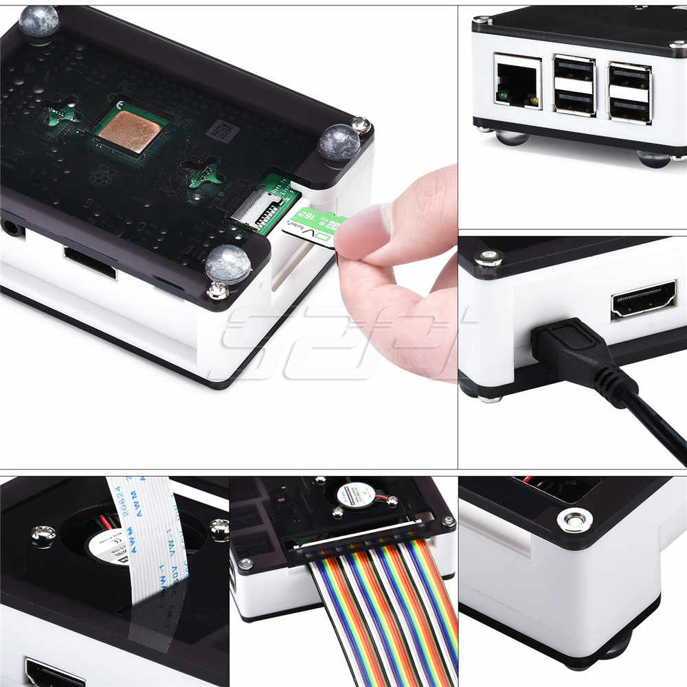 52Pi Acrylic Plastic Case with Optional 5V 2.5A Power Adapter, for Rasberry Pi 3B+ / 3B Plus (Not Include)