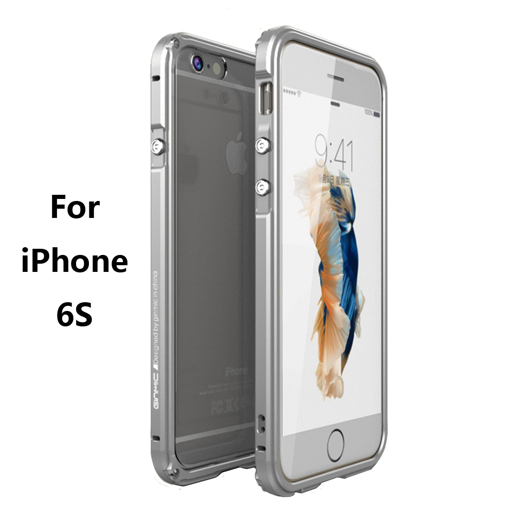 Original GINMIC Brand Phone Case for iPhone 6S Aluminum Alloy Metal frame with PC transparent back