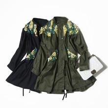 Veydu Для женщин Осень Стенд воротник с длинным рукавом нарисовать строку пояс Bling Блестки Назад Открыть Вилка Тренч с длинным пальто повседневная верхняя одежда