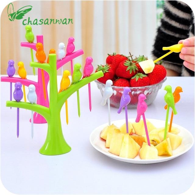 Tableware Dinnerware Sets Creative Tree+Birds Design Plastic Fruit Forks 1 Stand+6 Forks  sc 1 st  AliExpress.com & Tableware Dinnerware Sets Creative Tree+Birds Design Plastic Fruit ...