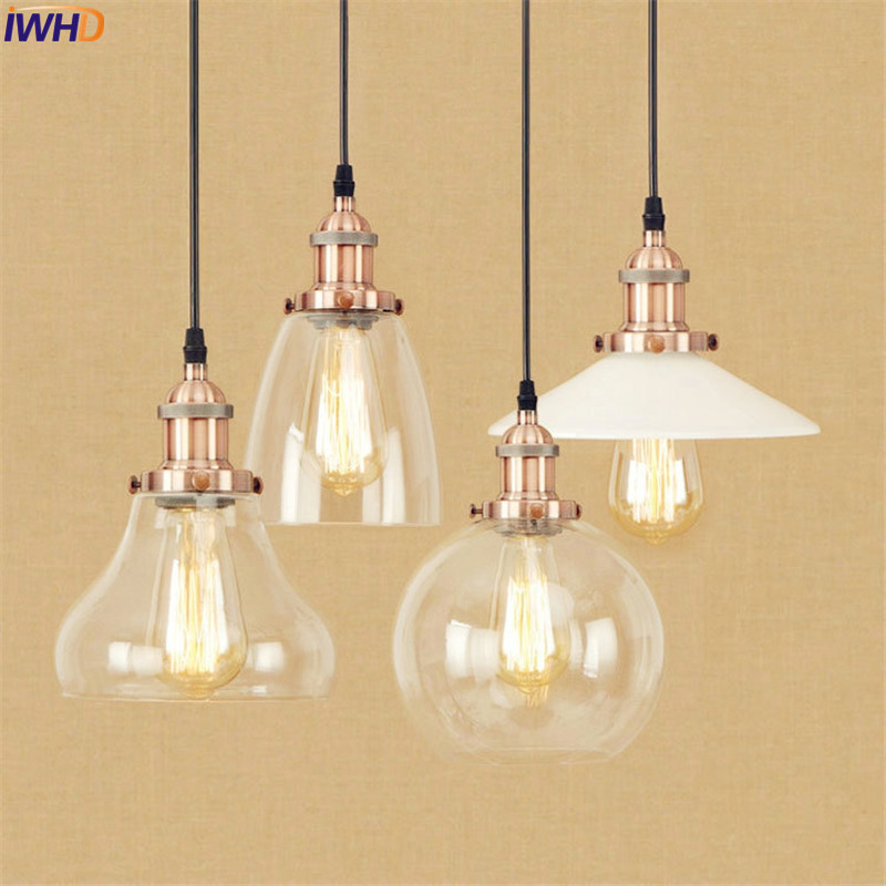 Glass Retro LED Pendant Lights Fixtures Metal Dinning Room Style Loft Industrial Pendant Lighting Fixtutes Edison Vintage Lamp retro loft style industrial vintage pendant lights hanging lamps edison pendant lamp for dinning room bar cafe