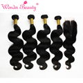Indian Virgin Hair Body Wave With Closure 7A Raw Indian Hair 4 Bundles With Lace Closure Cheap Body Wave Hair Weave Bundles
