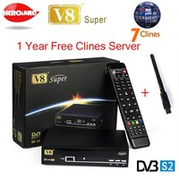 1 Rok Europa clines Serwer Freesat V8 super receptor satellite FTA Odbiornik Satelitarny DVB-S2 IPTV 1080 p Full HD 3G + 1 pc USB WIFI