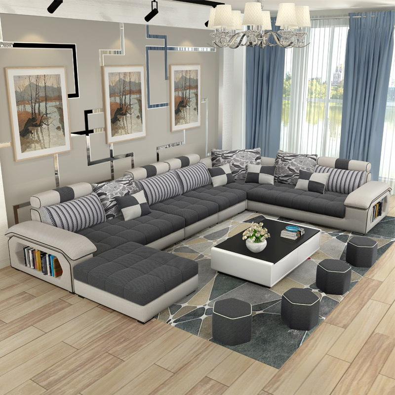 Luxury living room furniture modern u shaped fabric corner for Sectional sofa living room layout